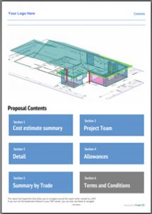 Sample of a YourQS Detail Report for residential quantity surveying